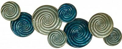 Abstract Metal Wall Art Circles Round Hanging Sculpture Blue Silver BIG 112 cm