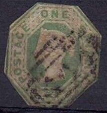 1847 QV Used 1/- Green Embossed SG55 Cut To Shape