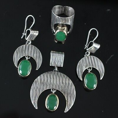 Turkish Handmade Emerald Sterling Silver 925K Set Earring Ring Pendant Size 8