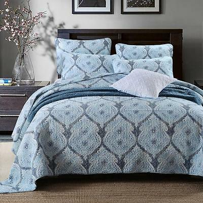 100% Cotton Coverlet / Bedspread Set King / Super King Size Bed 230x270cm Blue