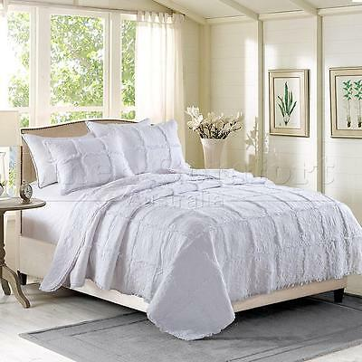 Quilted 100% Cotton Coverlet / Bedspread Set Queen King Size Bed 230x250cm White