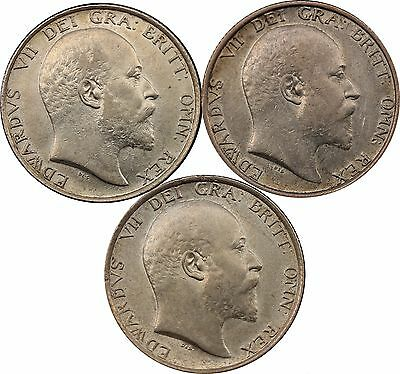 1902 1906 1910 Shilling English Silver Coins [3] Total