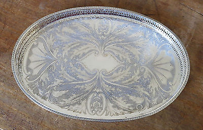 """Oval Silver Plated on Copper gallery Tray Vintage Classic Design 18"""""""