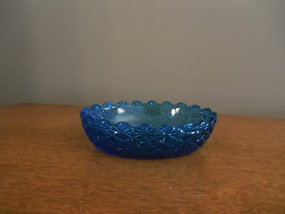 Vintage Blue Daisy And Button Dish Bowl Nice!