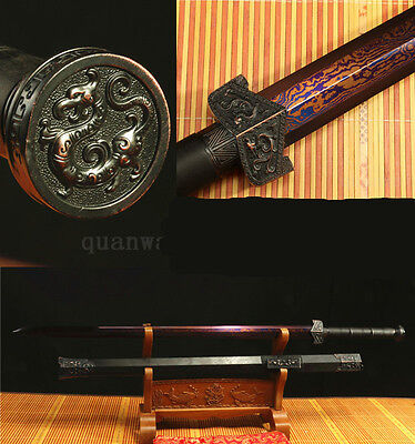 Rosewood Damascus Folded Steel Blue Chinese Dragon Han Sword‏