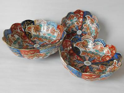 Imari Meiji 19Th Century Three Graduated Bowls (Restored)