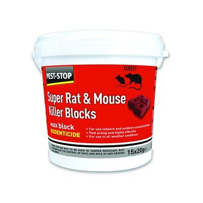 Pest Stop Super Mouse & Rat Killer All Weather Wax Blocks Bait 15x20g In/Outdoor
