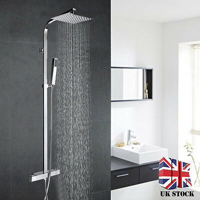 Modern Bathroom Mixer Shower Set Twin Head Square Chrome Thermostatic