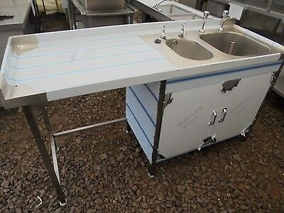Commercial Catering Stainless Steel Double Bowl Left Drainer Sink Cabinet K4374