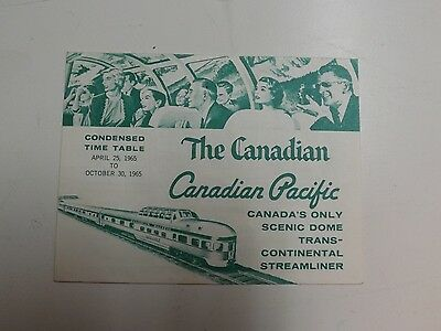 """Canadian Pacific """"The Canadian"""" '65 Train Schedule- Scenic Dome Transcontinental"""