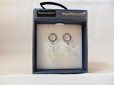 Equilibrium Platinum Disk & Crystal Cluster Earrings Gift Boxed  + Free Postage
