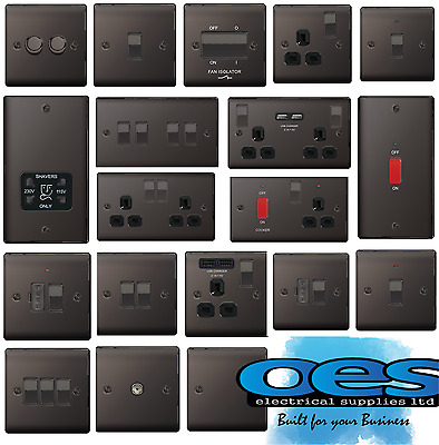 Bg Nexus Decorative Light Switches & Sockets Black Nickel Range Black Inserts