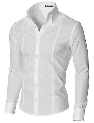 MODERNO Mens slim fit long sleeve oversized collar dress shirt (MSSF501)