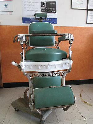 Antique Vintage Porcelain Koken Companies Barber Chair With Headrest Child Seat