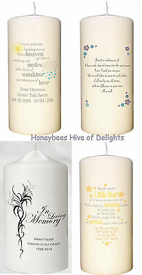 PERSONALISED MEMORIAL Remembrance CANDLE In Loving Memory KEEPSAKE Gift Ideas
