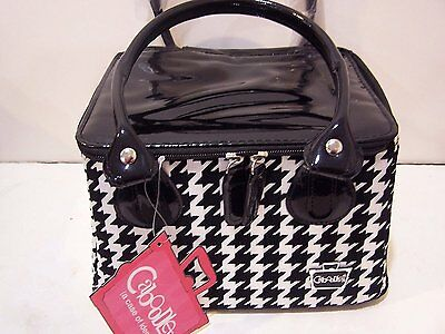 Caboodles Tapered Tote Sassy Makeup Cosmetic Bag Black White Large Houndstooth