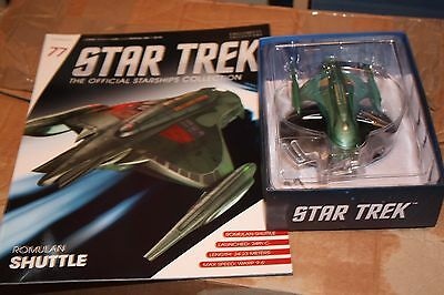 Star Trek Eaglemoss Ship Issue 77 Romulan Shuttle  With Magazine