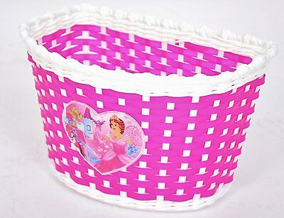 Girlie Childrens Pink Woven Front Small Bike Basket Princess Heart