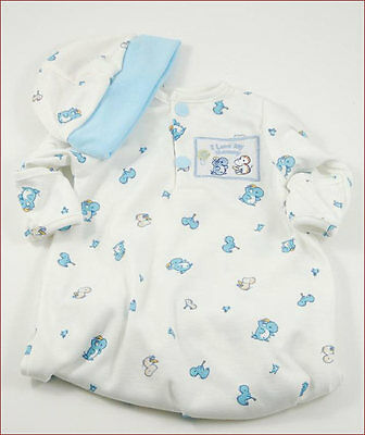 Reborn Doll Preemie Gown and Matching Cap Blue