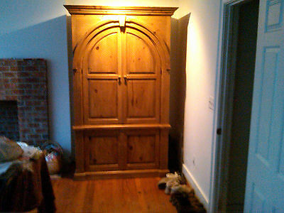 French Armoire, Charming country antique wardrobe or armoire with arched doors