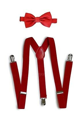 Red Suspender and Bow Tie Set for Teenagers Adults Men Women (USA Seller)