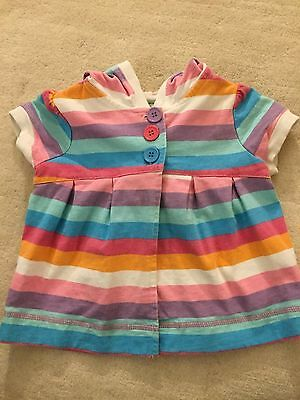 Peanut & Ollie Striped Coverup With Hood Colorful Stripes And Buttons Girls 4T