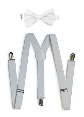 White Suspender and Bow Tie Set for Teenagers Adults Men Women (USA Seller)