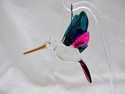 Lovely Colorful Glass Hummingbird Figurine Figure Ornament W/Clear Plastic Stand