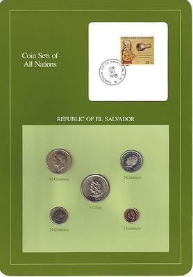 Coin Sets of All Nations - El Salvador, 5 coin green set