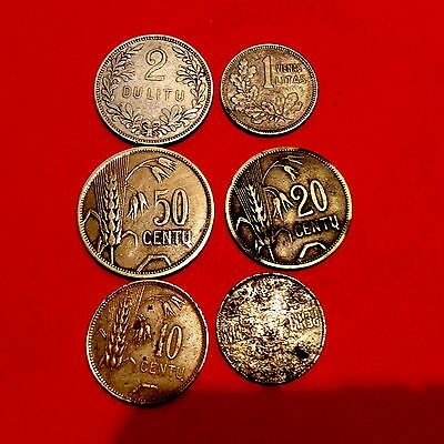 Lithuania  1925 Silver ,brass Coins Set,lot