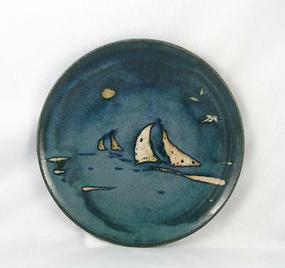 Quebec ? Art Pottery Signed Plate W/ Sail Boat  10 1/4``