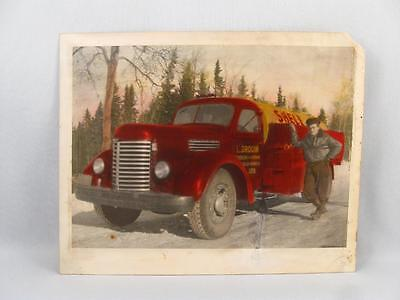 Vintage Colored Photo Shell Oil Gas Delivery Truck L. Drouin Beauce Quebec  8X10