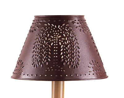 """Park Designs Country Primitive 10"""" Punched Willow Metal Lamp Shade In Red"""