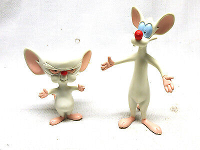 "Vintage 1997 Pinky And The Brain Bendable Toy Figures Animaniacs 7"" and 5"""