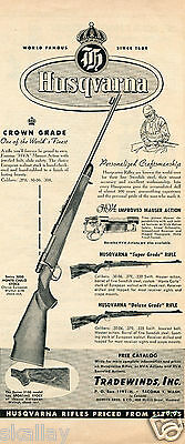 1954 Print Ad of Tradewinds Inc Husqvarna Crown Super & Deluxe Grade Rifle