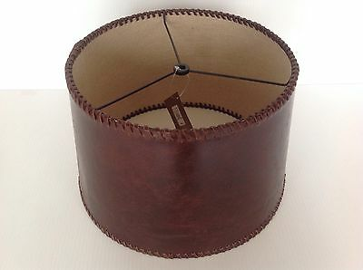 Pottery Barn Leather Tapered Drum Lamp Shade Small New