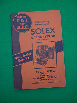 Solex Carburettor Fai & Aic Instruction Booklet (Carb Starting Model 26)