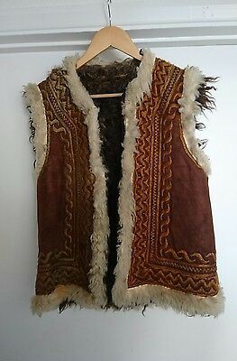Original vintage 60s afghan embroidered suede waistcoat gilet size Small
