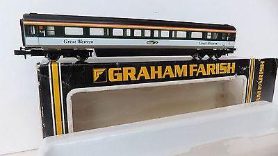 """Graham Farish Mk3 Intercity coach in GREAT WESTERN """" fag packet"""" livery BOXED"""
