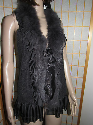 Fashion Rare DeepGray Acrylic Knit Real Fur Neck,Front Hollow Back Boutique Vest