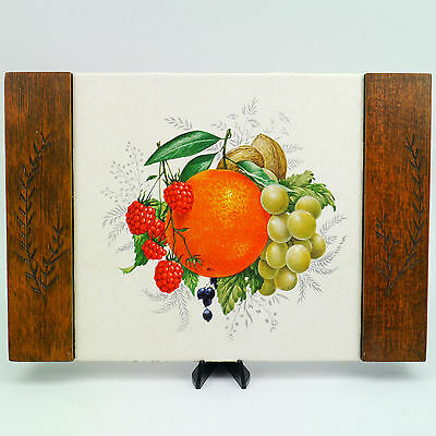 Vintage Dal-Tile Mexico Hand Etched Wood Mounted Tile Orange Grapes Raspberries