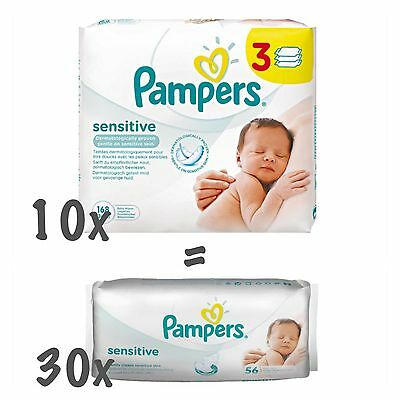Pampers Senstive Feuchttücher 10 x 3er Packs (30 x 56 Tücher= 1.680)