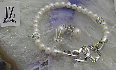 Freshwater Pearl Sterling Silver Heart Clasp Bracelet and S/S Stud Earrings Set