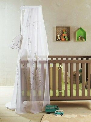 Baby/Cot Bed Canopy Voile Curtains With Stork Holder, Looks New, Vertbaudet