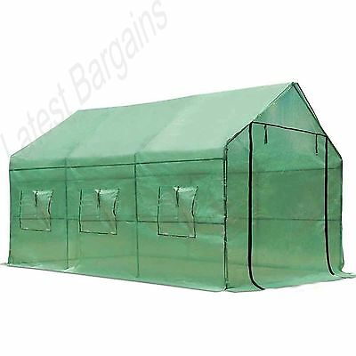 Walk In Greenhouse Hot House Large Garden Plant Shed Green PE Cover 3.5M x 2M