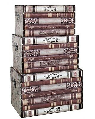 New Antique Vintage Style Old Book Pattern Storage Box Trunk Chest Set