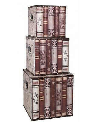 New Antique Vintage Style Old Book Pattern Square Storage Box Trunk Chest Set