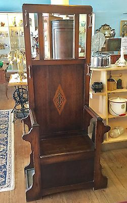 Antique Oak Hall Tree With Storage And With Drip Pans On Each Side