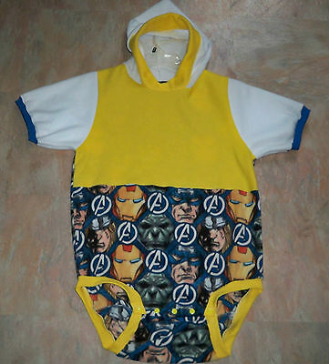 """ADULT BABY 39"""" Hooded Fleece Funsuit w/ Captain America , By  KT"""