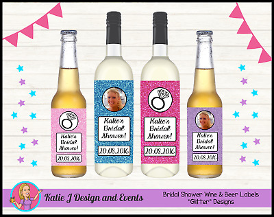 ** Personalised Glitter Bridal Shower Wine Bottle Labels Gifts Decorations **
